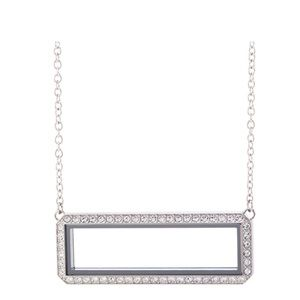 Silver Swarovski Crystal bar locket